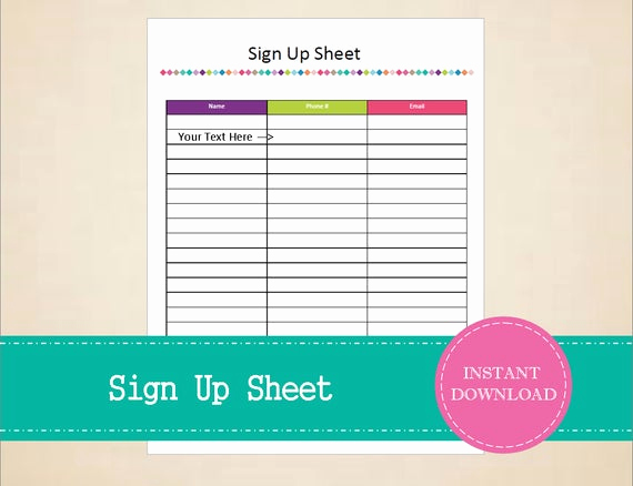 Sign Up Sheet Pdf Luxury Sign Up Sheet Printable and Editable Instant Pdf Download