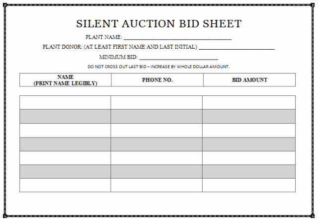 Silent Auction Bid Sheet Template Awesome 30 Silent Auction Bid Sheet Templates [word Excel Pdf]