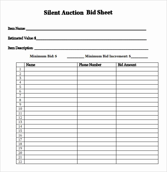 Silent Auction Bid Sheet Template Awesome Silent Auction Bid Sheet Google Search