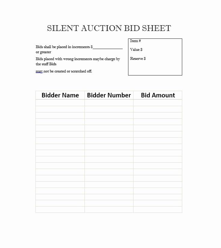 Silent Auction Bid Sheet Template Beautiful 40 Silent Auction Bid Sheet Templates [word Excel