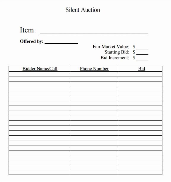 Silent Auction Bid Sheet Template Beautiful 6 Silent Auction Bid Sheet Templates formats Examples