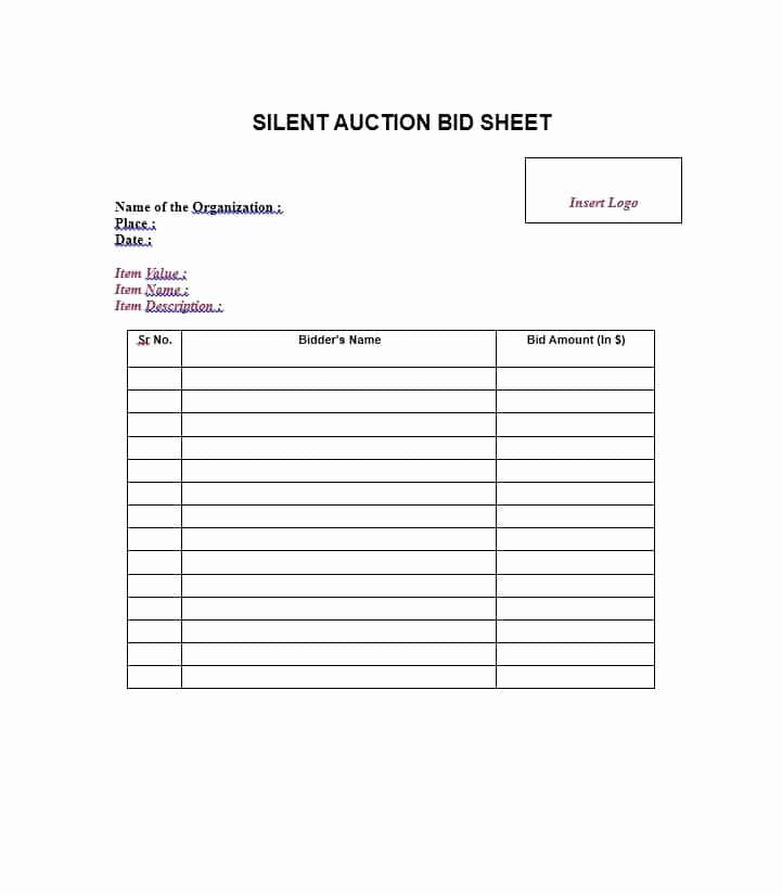 Silent Auction Bid Sheet Template Best Of 40 Silent Auction Bid Sheet Templates [word Excel]