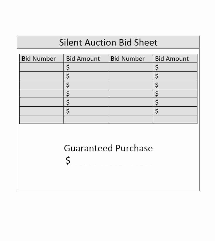 Silent Auction Bid Sheet Template Elegant 40 Silent Auction Bid Sheet Templates [word Excel]