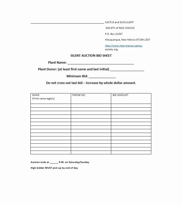 Silent Auction Bid Sheet Template Fresh 40 Silent Auction Bid Sheet Templates [word Excel]