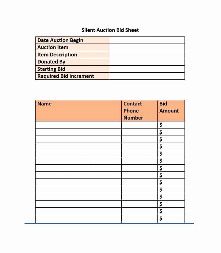 Silent Auction Bid Sheet Template Inspirational 40 Silent Auction Bid Sheet Templates [word Excel]