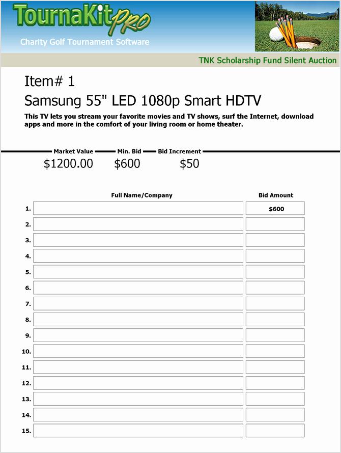 Silent Auction Bid Sheet Template Lovely Charity Auction forms 108 Silent Auction Bid