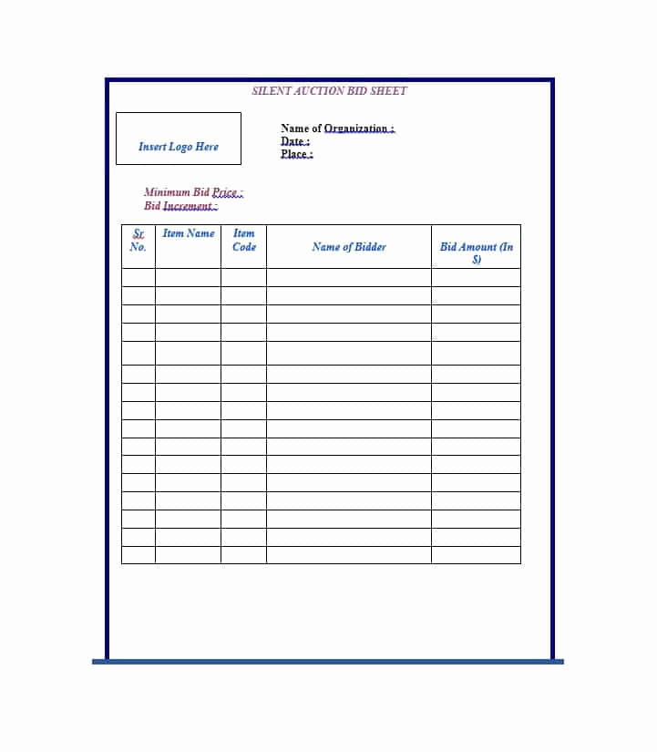 Silent Auction Bid Sheet Template Luxury 40 Silent Auction Bid Sheet Templates [word Excel]