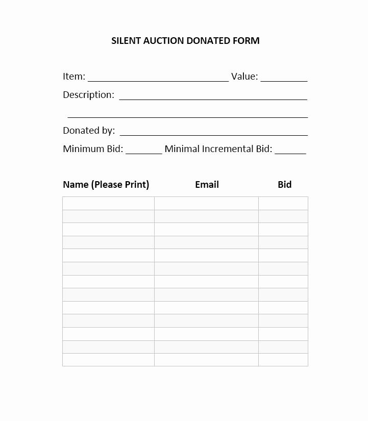 Silent Auction Bid Sheet Template New 40 Silent Auction Bid Sheet Templates [word Excel]