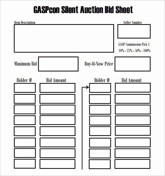 Silent Auction Bid Sheet Template New Silent Auction Bid Sheet Template – 9 Free Samples