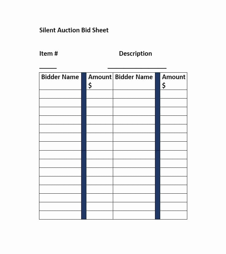 Silent Auction Bid Sheet Template Unique 40 Silent Auction Bid Sheet Templates [word Excel]
