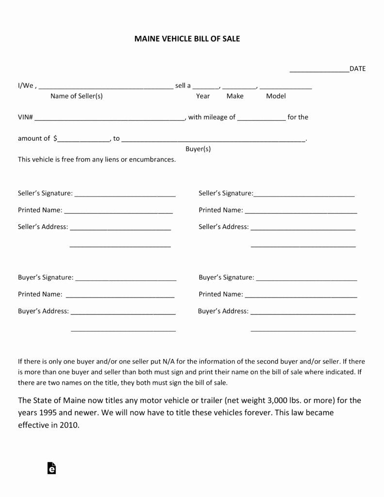 Simple Auto Bill Of Sale Unique Free Maine Motor Vehicle Bill Of Sale form Pdf