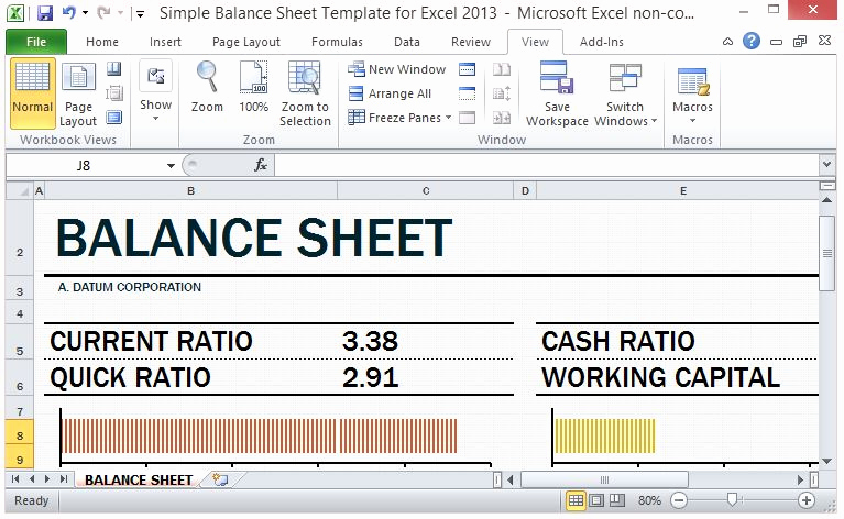 Simple Balance Sheet Template Awesome Simple Balance Sheet Template for Excel 2013 with Working