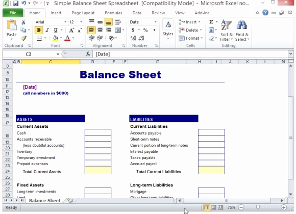Simple Balance Sheet Template Beautiful Simple Balance Sheet Template for Excel