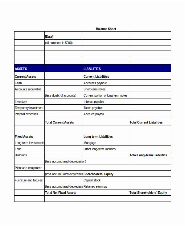 Simple Balance Sheet Template Elegant Simple Balance Sheet 20 Free Word Excel Pdf Documents