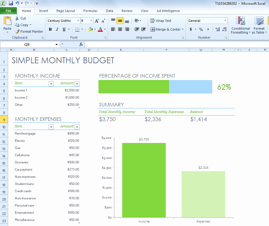 Simple Budget Template Excel Fresh Simple Monthly Bud Spreadsheet for Excel 2013