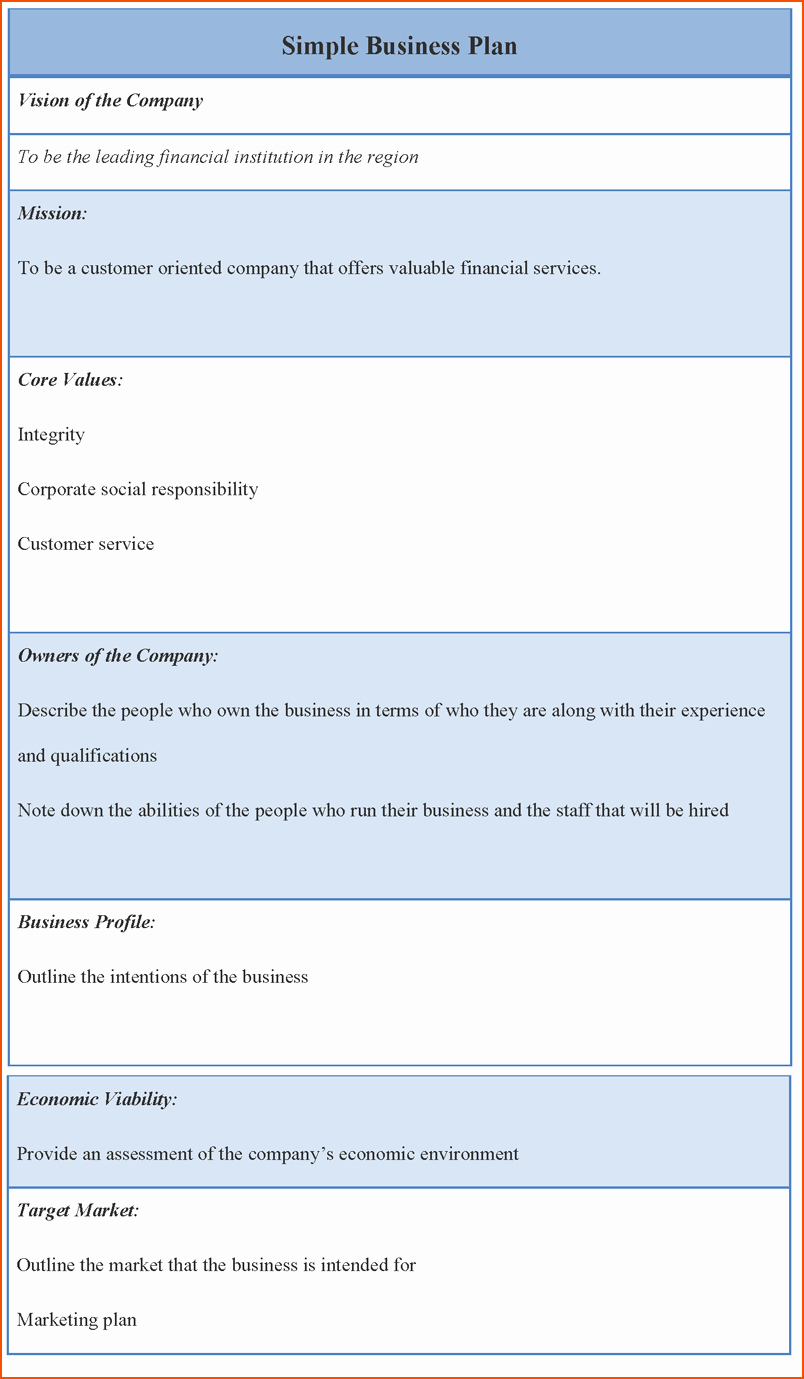 Simple Business Plan Example Awesome 8 Business Plan Template Word Bookletemplate