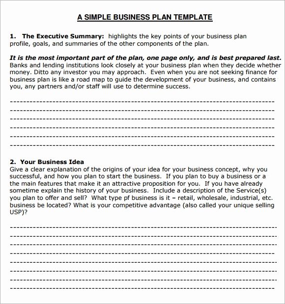 Simple Business Plan Example Best Of Small Business Plan Template 6 Free Download for Pdf