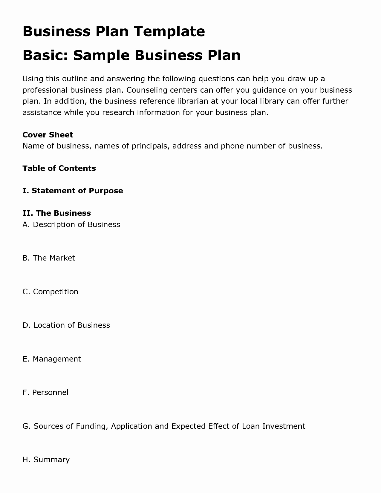 Simple Business Plan Outline Awesome Easy Business Plan Template Beepmunk