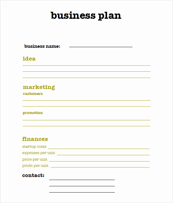Simple Business Plan Template Word Luxury 9 Sample Sba Business Plan Templates