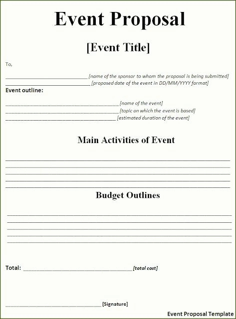 Simple Business Plan Template Word New event Proposal Template Free Download