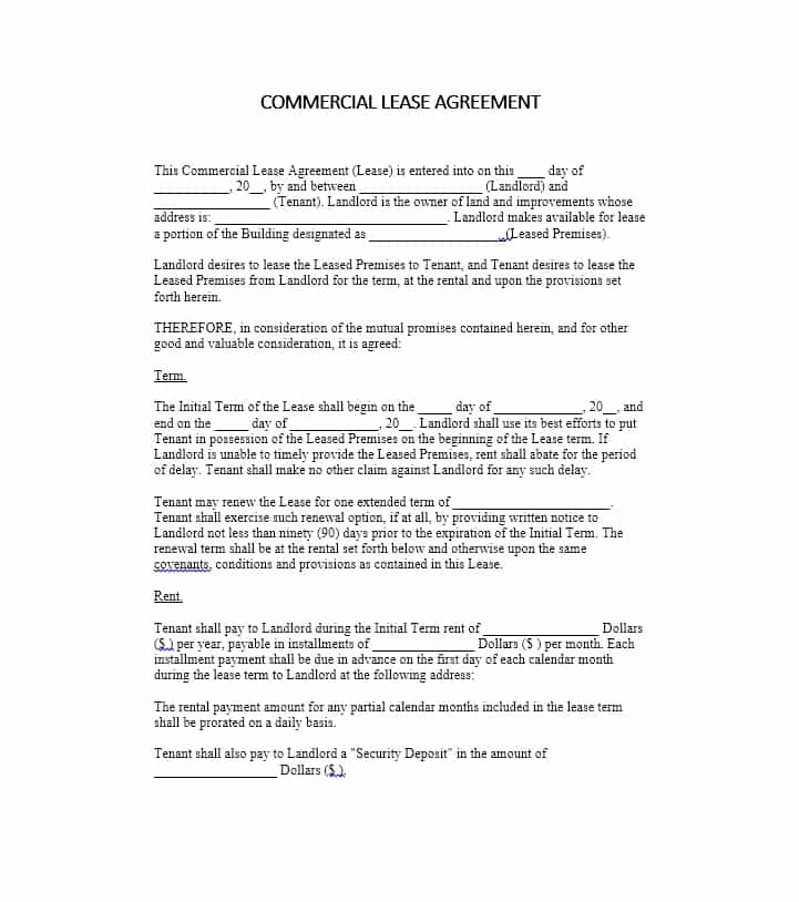 Simple Commercial Lease Agreement Elegant 26 Free Mercial Lease Agreement Templates Template Lab