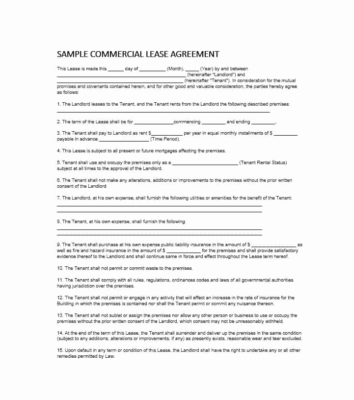 Simple Commercial Lease Agreement Fresh 26 Free Mercial Lease Agreement Templates Template Lab