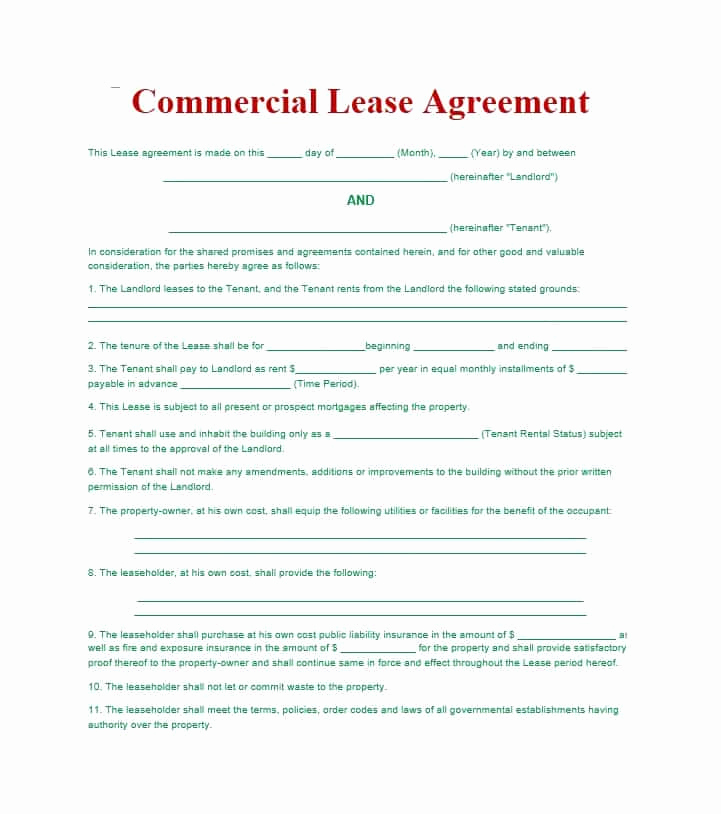 Simple Commercial Lease Agreement Inspirational 26 Free Mercial Lease Agreement Templates Template Lab