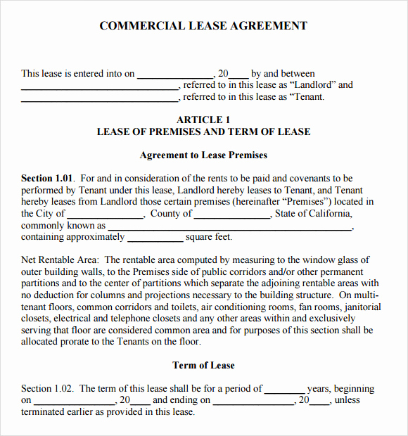 Simple Commercial Lease Agreement Inspirational 8 Sample Mercial Lease Agreements