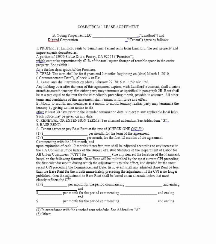 Simple Commercial Lease Agreement Lovely 26 Free Mercial Lease Agreement Templates Template Lab
