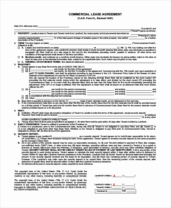 Simple Commercial Lease Agreement Luxury Simple Lease Agreement 9 Examples In Pdf Word