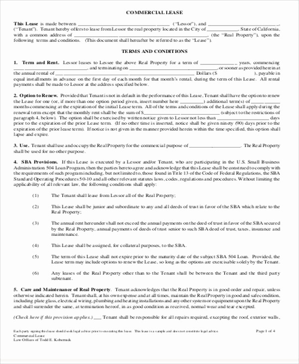 Simple Commercial Lease Agreement New 19 Simple Mercial Lease Agreements Word Pdf Pages