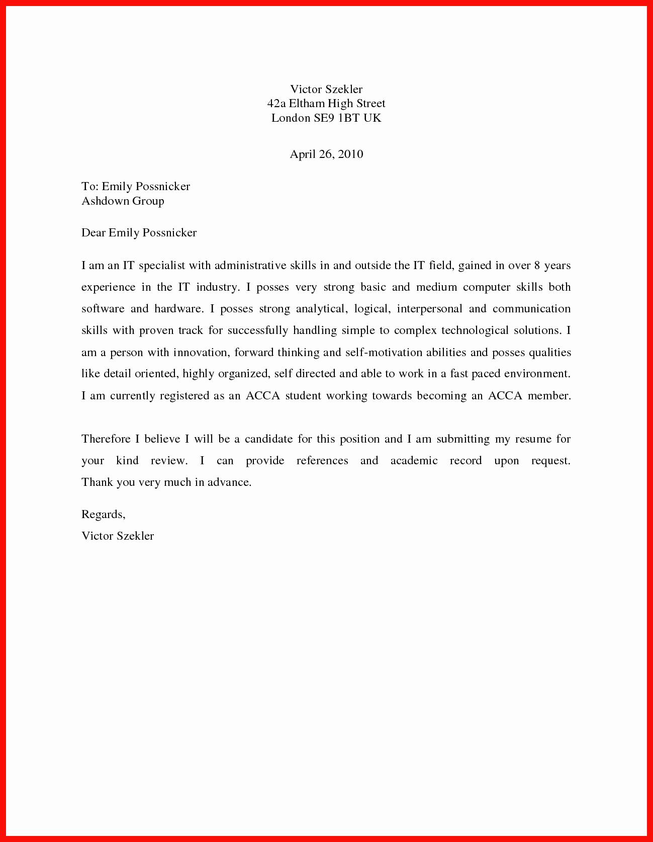 Simple Cover Letter format Best Of Basic Cover Letter Sample