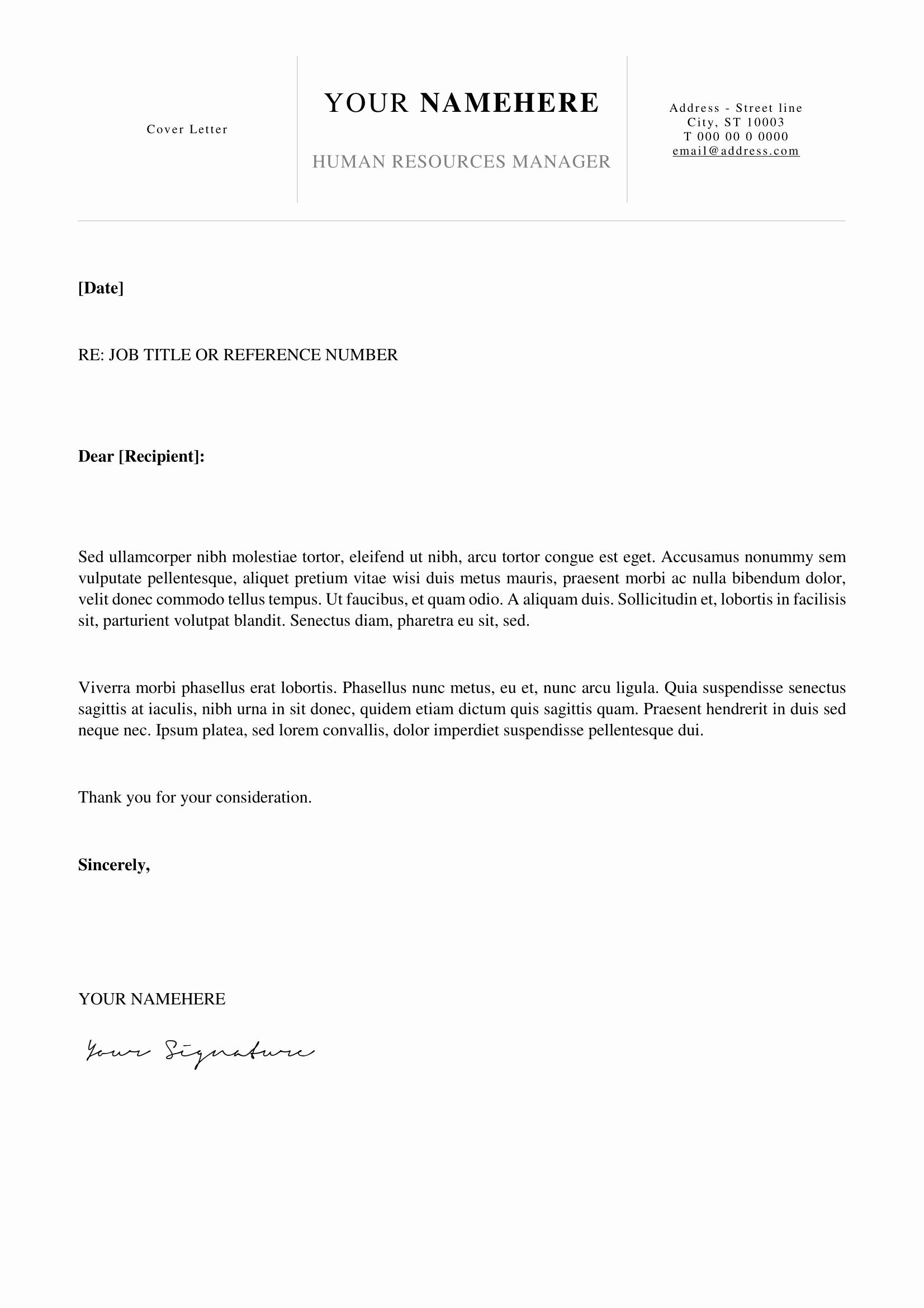 Simple Cover Letter format Elegant Kallio Free Simple Cover Letter Template for Word Docx