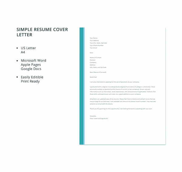 Simple Cover Letter format New 51 Simple Cover Letter Templates Pdf Doc