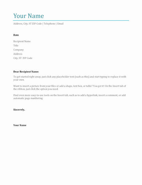 Simple Cover Letter format New Simple Cover Letter Fice Templates