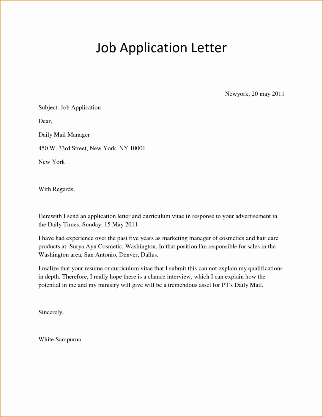 Simple Cover Letter Sample Lovely 23 Simple Covering Letter Example Simple Covering