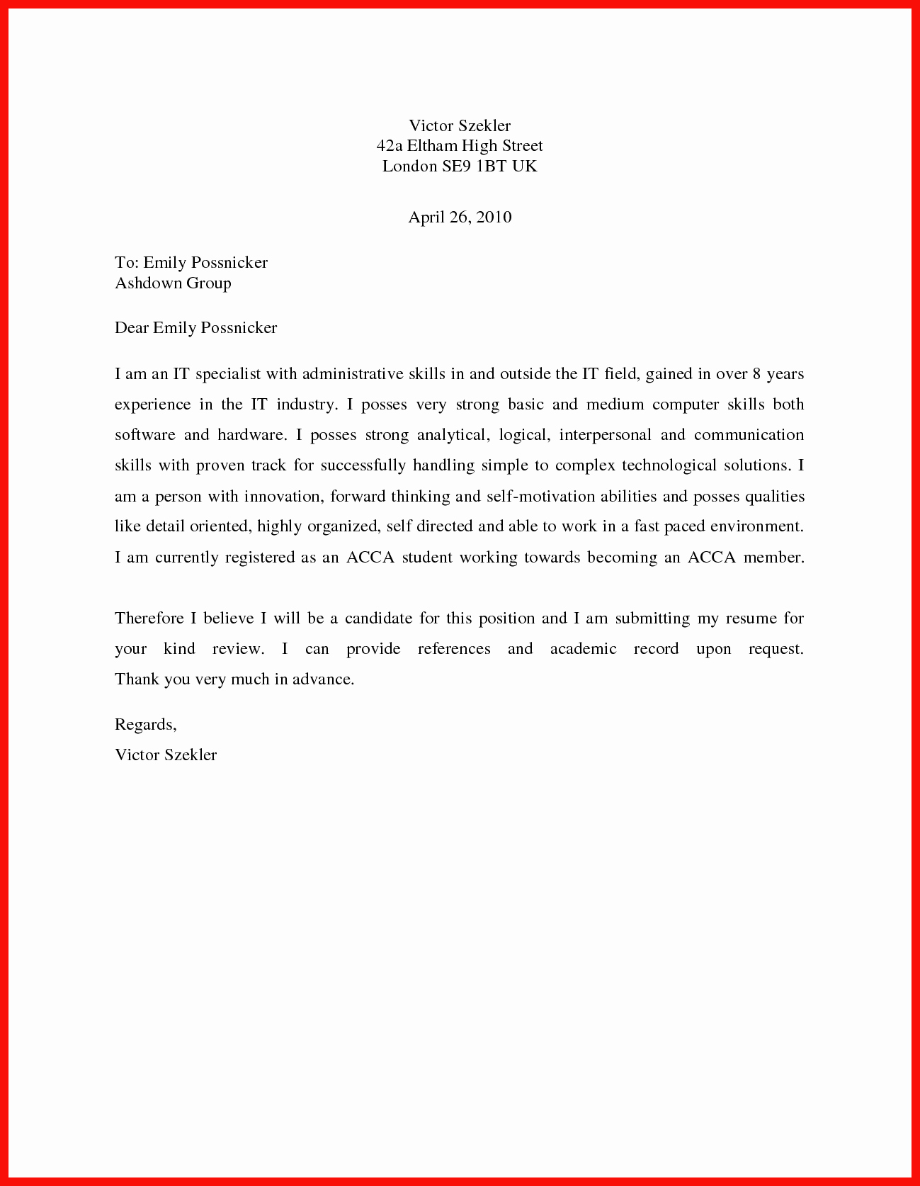 Simple Cover Letter Sample New Basic Cover Letter Sample