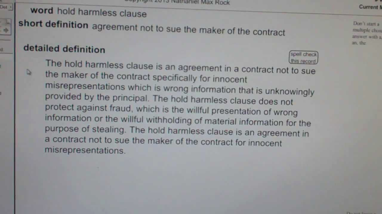 Simple Hold Harmless Agreement Awesome Hold Harmless Clause Ca Real Estate License Exam top Pass