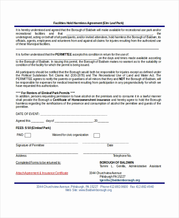 Simple Hold Harmless Agreement Beautiful 12 Hold Harmless Agreements Free Sample Example