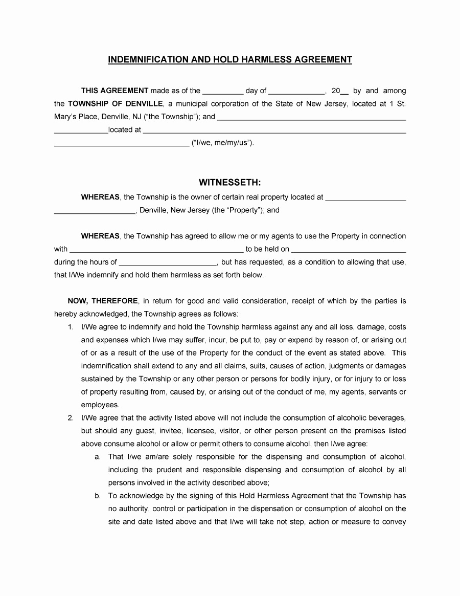 Simple Hold Harmless Agreement Best Of 41 Free Hold Harmless Agreement Templates Free Free