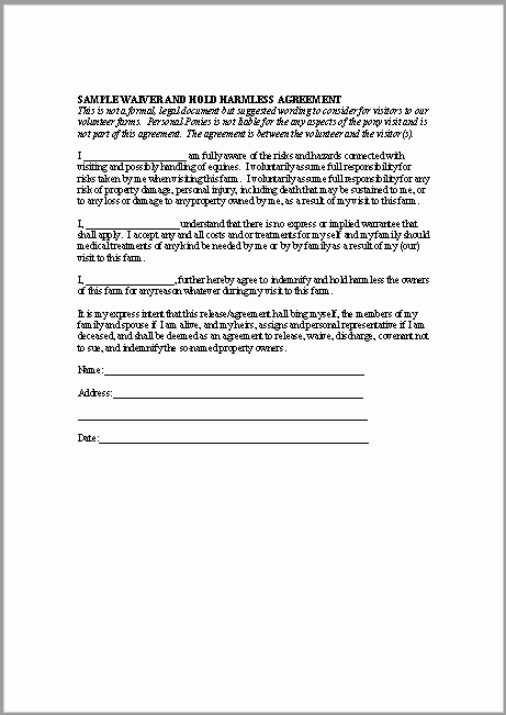 Simple Hold Harmless Agreement Inspirational 43 Free Hold Harmless Agreement Templates Ms Word and Pdfs