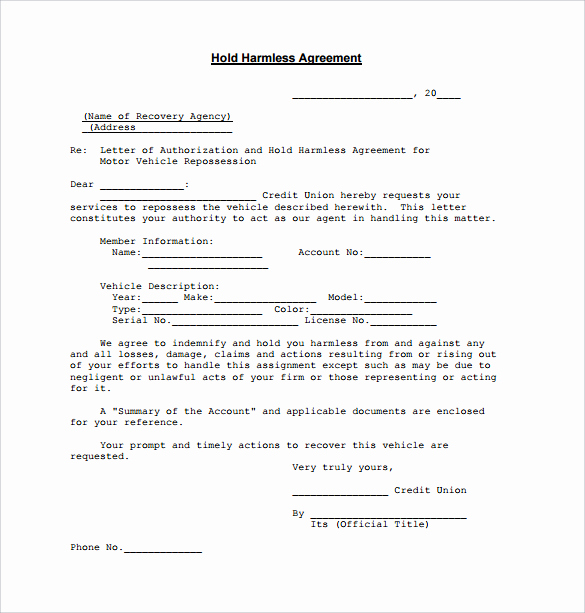 Simple Hold Harmless Agreement Inspirational Free Printable Rental Agreements