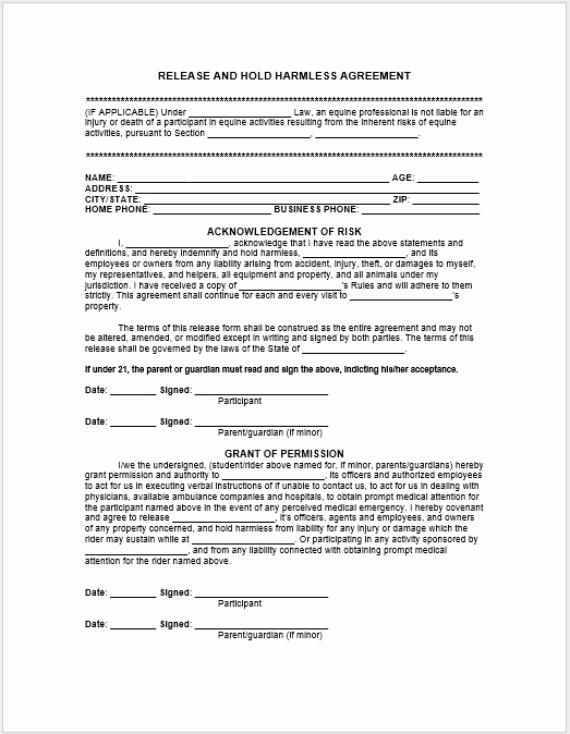 Simple Hold Harmless Agreement Lovely 43 Free Hold Harmless Agreement Templates Ms Word and Pdfs