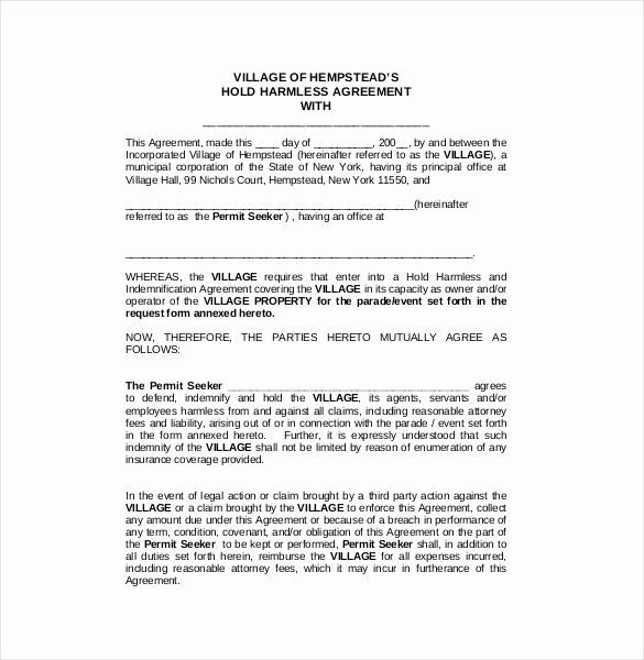 Simple Hold Harmless Agreement Lovely Hold Harmless Agreement Template – 14 Free Word Pdf