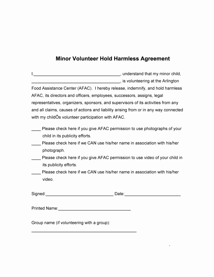 Simple Hold Harmless Agreement Unique 41 Free Hold Harmless Agreement Templates Free Free