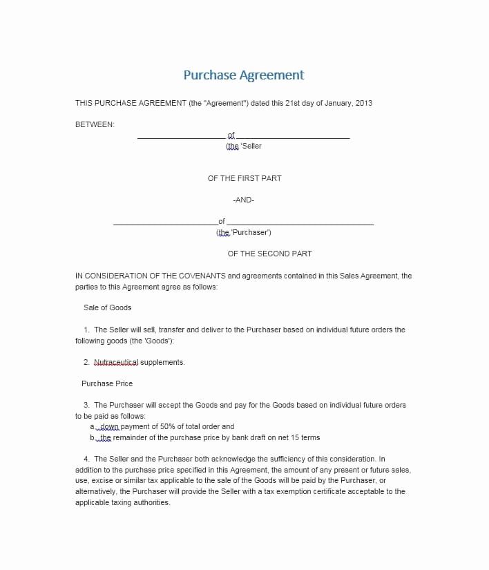 Simple Home Purchase Agreement Beautiful 37 Simple Purchase Agreement Templates [real Estate Business]