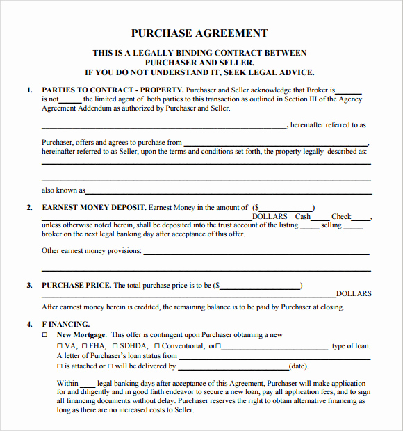 Simple Home Purchase Agreement Fresh Sample Real Estate Purchase Agreement 7 Examples format