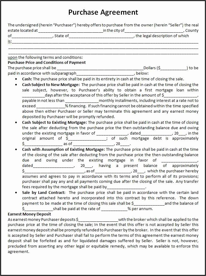 Simple Home Purchase Agreement New Free Purchase Agreement Template