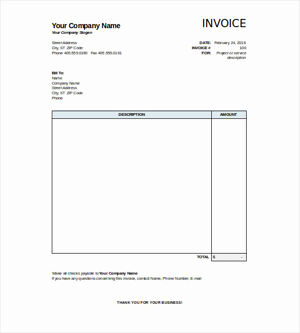 Simple Invoice Template Excel Awesome 47 Blank Invoice Templates Ai Psd Google Docs Apple