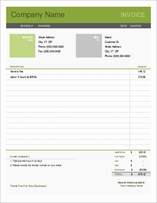 Simple Invoice Template Excel Awesome Simple Invoice Template for Excel Free